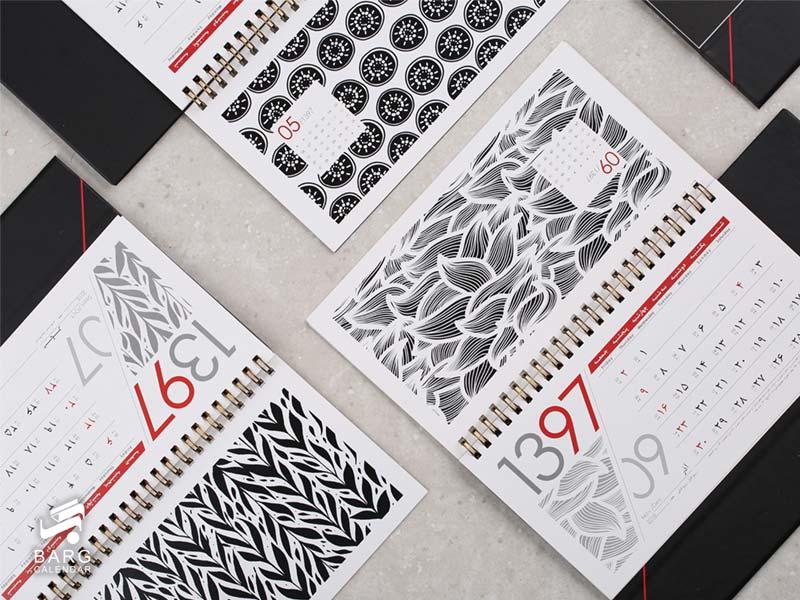 چاپ اختصاصی تقویم رومیزی مدرن 12 ماهه - سررسید 98 واحد سالنامه برگ