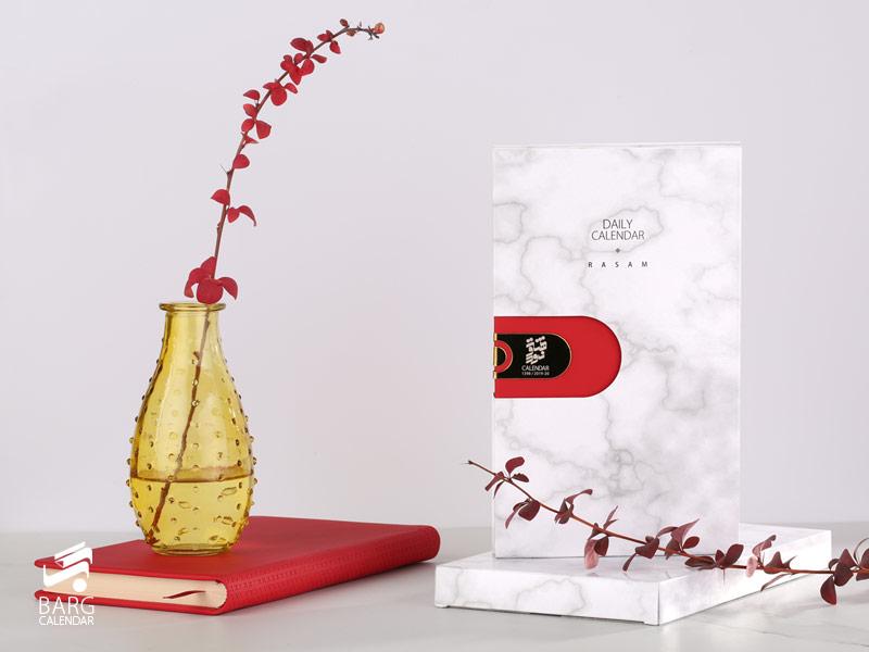 جعبه سالنامه اروپایی چرم قرمز